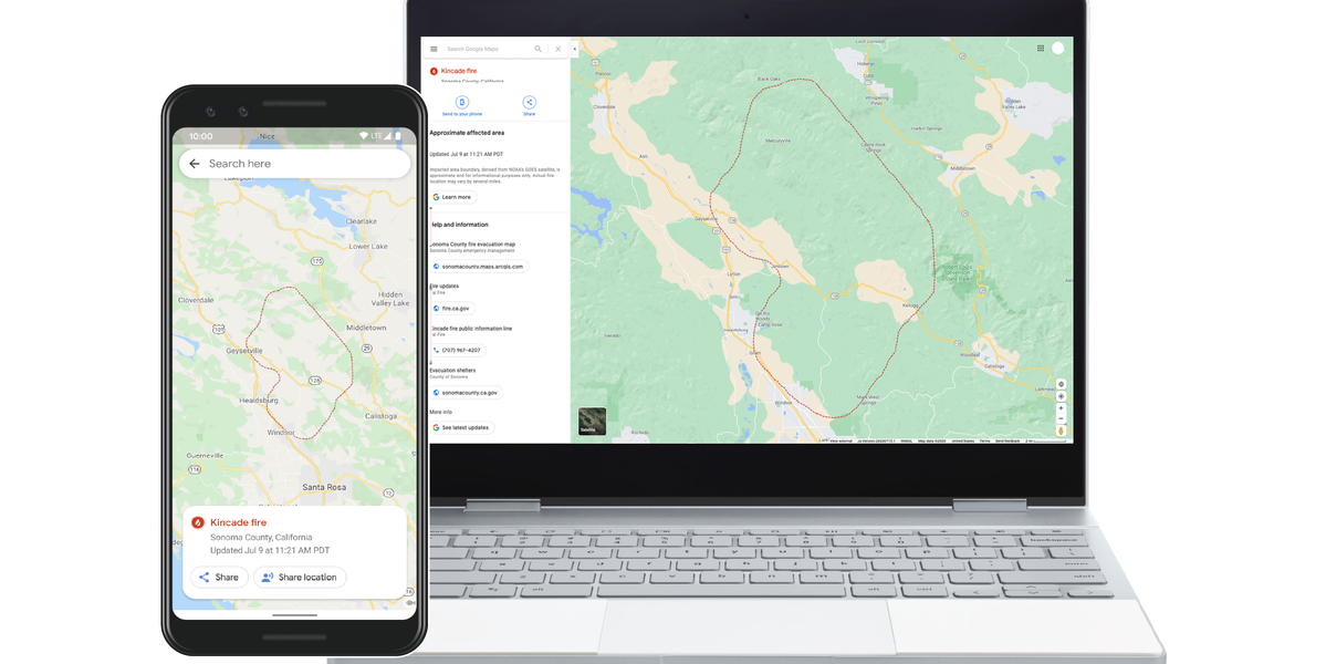 Google Maps starts showing wildfire boundaries, nearly in real ...