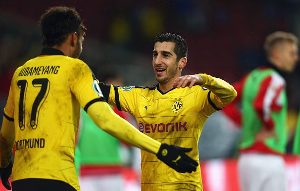 Auba and Mkhitaryan celebrate BVB's third goal