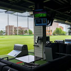 Topgolf bays on the first level