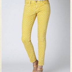 """<a href=""""http://www.anthropologie.com/anthro/product/shopsale-pants/A24212706.jsp"""">Current/Elliott Polka Dotted Stilletto crops</a>, $99.95 (was $218)"""