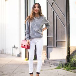 """Aimee of <a href=""""http://songofstyle.blogspot.com/"""">Song of Style</a> is wearing a <a href="""" http://www.ilycouture.com/product_p/classicecogrey.htm"""">sweatshirt</a> and <a href=""""http://www.ilycouture.com/product_p/cbot.htm"""">necklace</a> by Ily Couture, J B"""