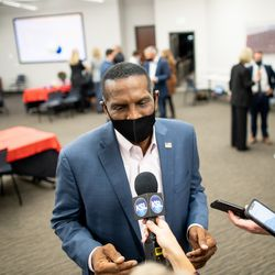 Burgess Owens, Republican candidate for Utah's 4th Congressional District, talks to reporters during an election night event for Republican candidates at the Utah Association of Realtors building in Sandy on Tuesday, Nov. 3, 2020.