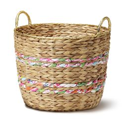 Woven basket with gold rim, $35