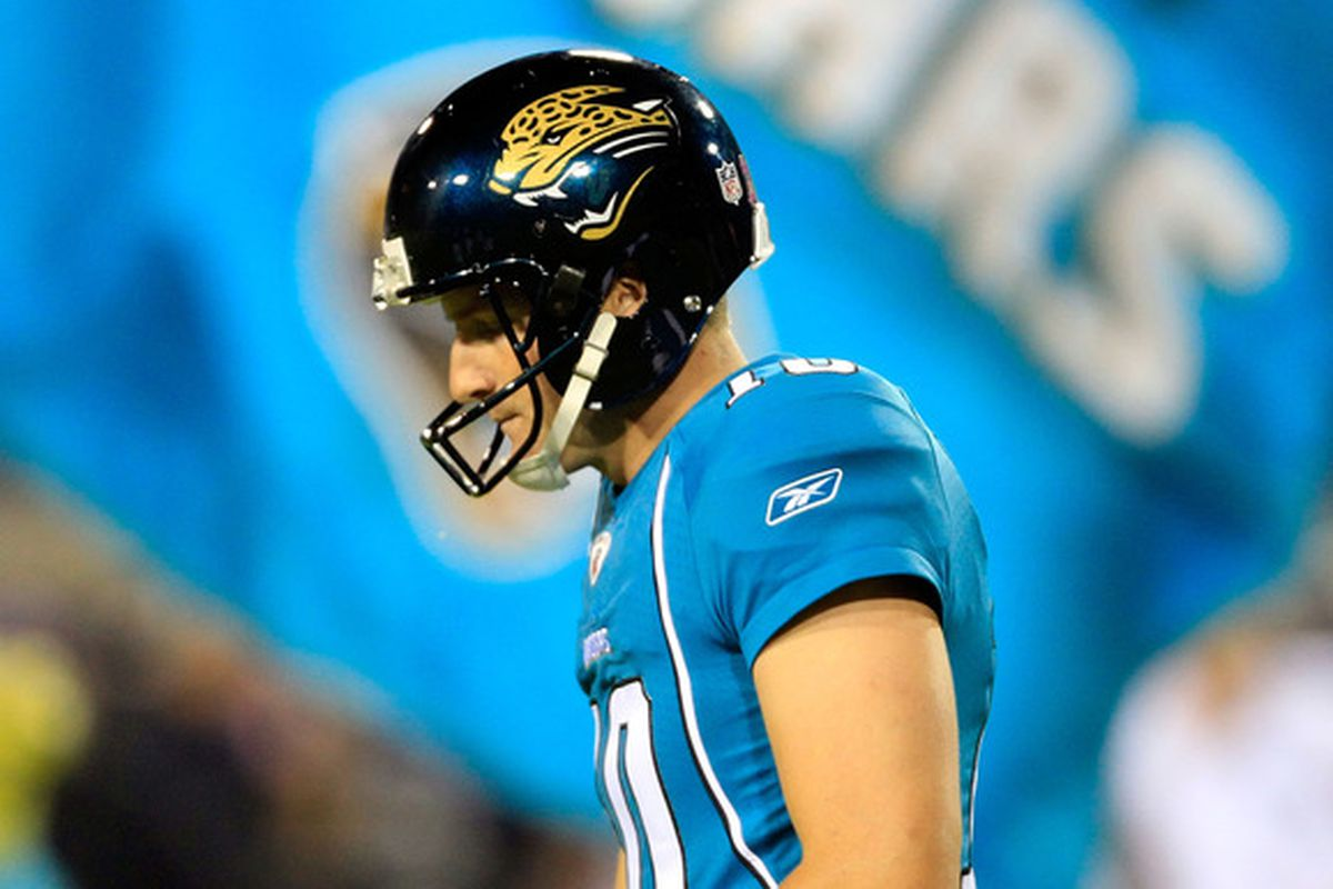 JACKSONVILLE, FL - OCTOBER 24:  Josh Scobee #10 of the Jacksonville Jaguars walks off the field during the game against the Baltimore Ravens  at EverBank Field on October 24, 2011 in Jacksonville, Florida.  (Photo by Sam Greenwood/Getty Images)