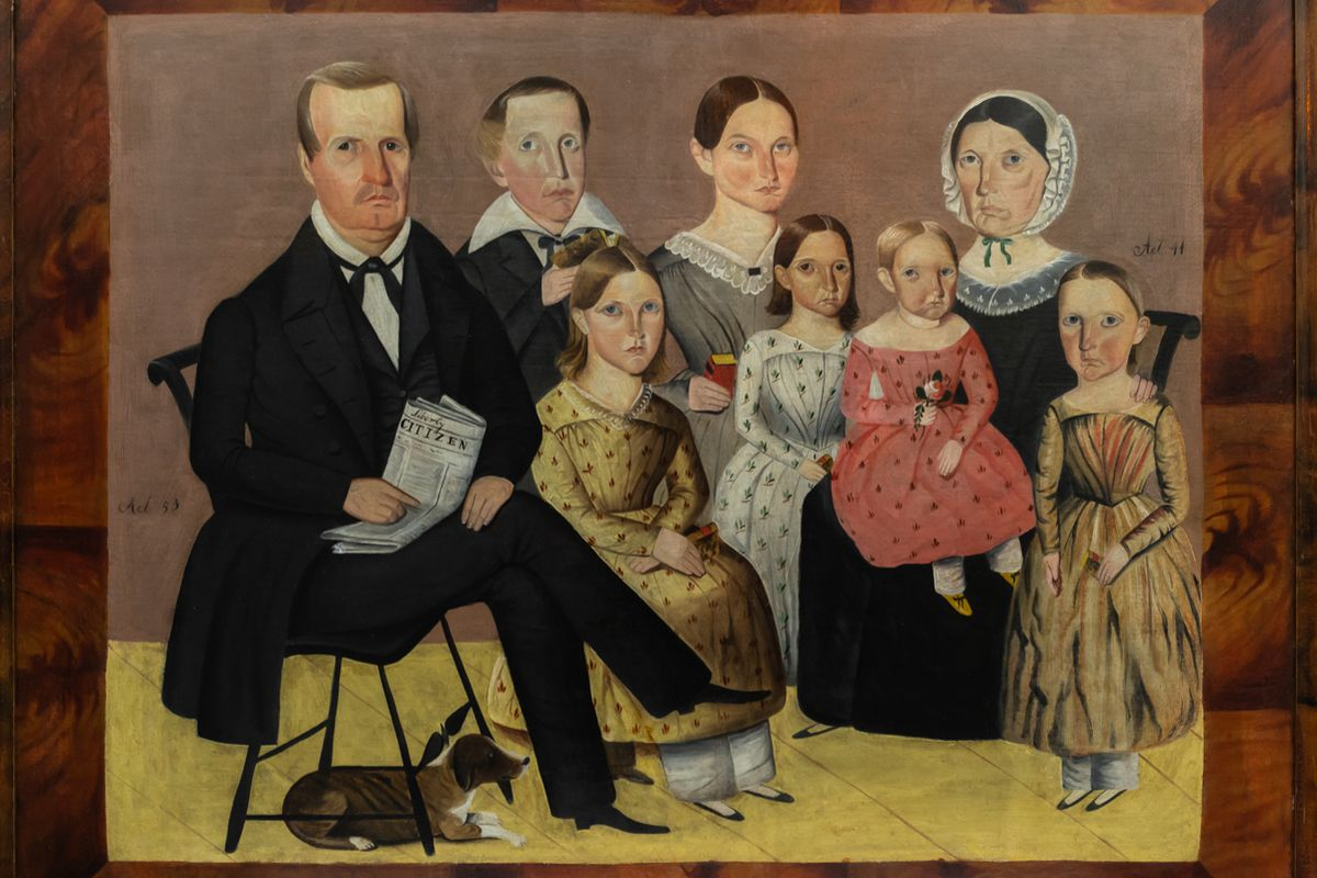 "Sheldon Peck's portrait, ""The John J. Wagner Family,""  c. 1846-1847, oil on canvas (33 ¼ by 41 ½ inches) and painted in Illinois, is among the artist's work featured in a new exhibit in Lombard."
