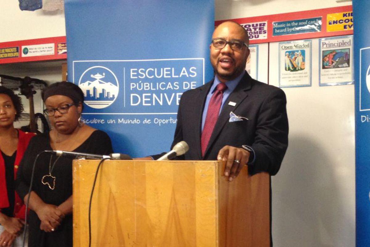 Allen Smith speaks at a Denver Public Schools press conference in 2016.