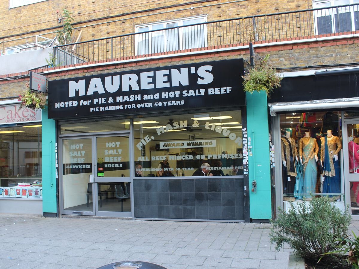 Pie and mash in London: London's best pie and mash shops include Maureen's at Chrisp Street Market