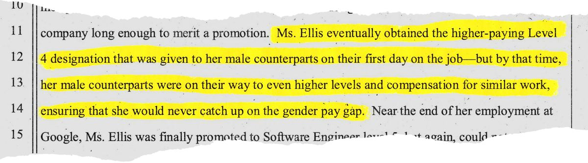 """Kelly Ellis's complaint against Google alleges that she was eventually promoted, but by that point, her male colleagues were ahead, """"ensuring that she would never catch up on the gender pay gap."""""""