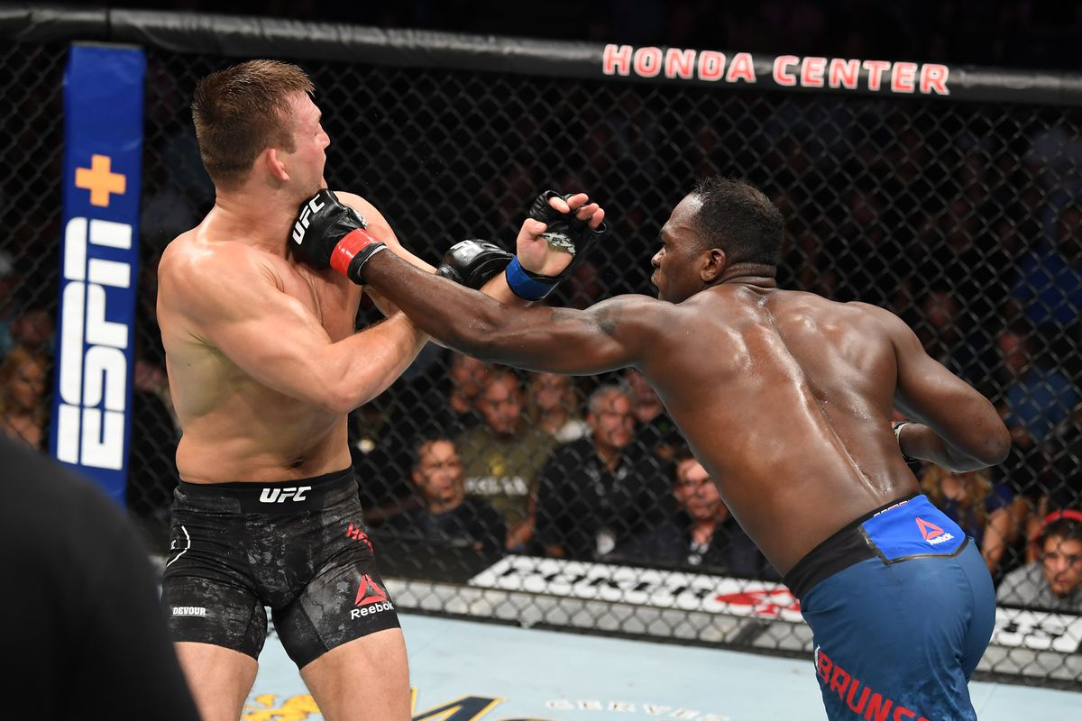 Derek Brunson punches Ian Heinisch in their middleweight bout during the UFC 241 event at the Honda Center on August 17, 2019 in Anaheim, California.