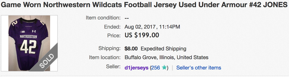 Someone sold Northwestern linebacker Joe Jones  jersey for  199 on eBay.  This is f0d821f4f