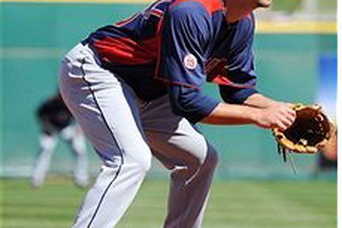 Cleveland Indians third base prospect Lonnie Chisenhall (Photo by Norm Hall, Getty Images)