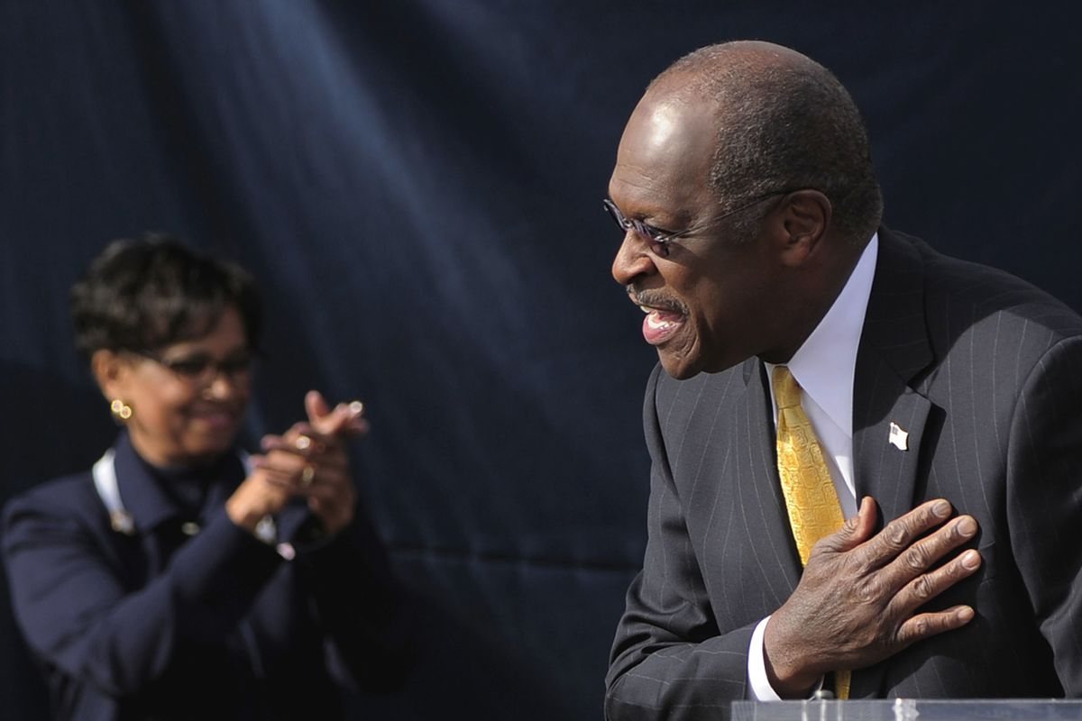 Republican presidential candidate Herman Cain delivers an announcement Saturday, Dec. 3, 2011, at a campaign event in Atlanta.