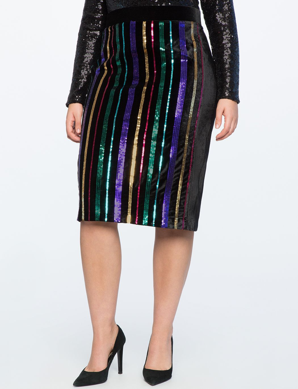 Sequin Stripe Pencil Skirt