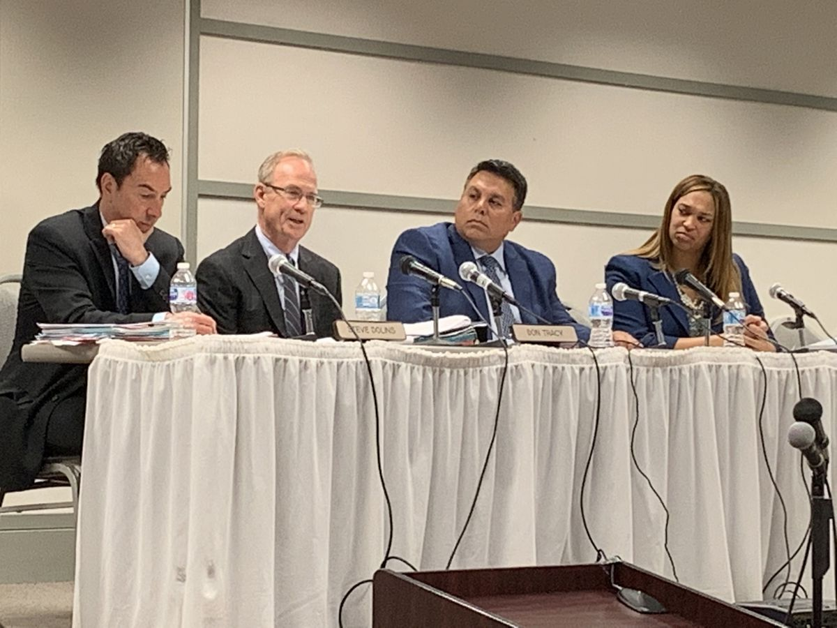 From left: Gaming board members Steven Dolins, Don Tracy, Ruben Ramirez and Dionne Hayden at a June 2019 board meeting.