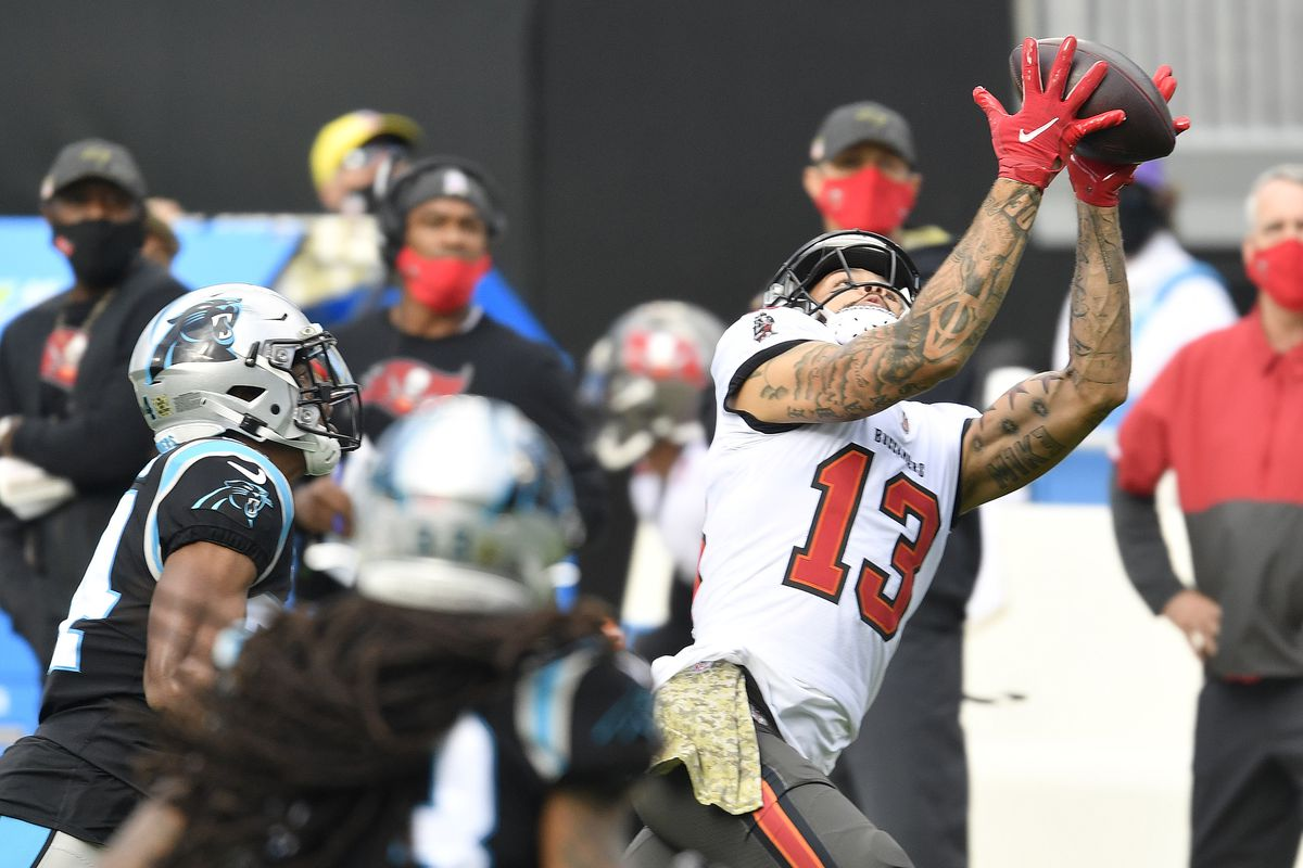 Mike Evans #13 of the Tampa Bay Buccaneers makes a catch against the Carolina Panthers during their NFL game at Bank of America Stadium on November 15, 2020 in Charlotte, North Carolina.