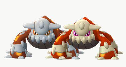 Shiny Heatran standing next to its original version in Pokémon Go