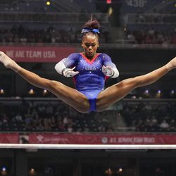 Shilese Jones competes on the uneven bars during the women's U.S. Olympic Gymnastics Trials Sunday, June 27, 2021, in St. Louis.