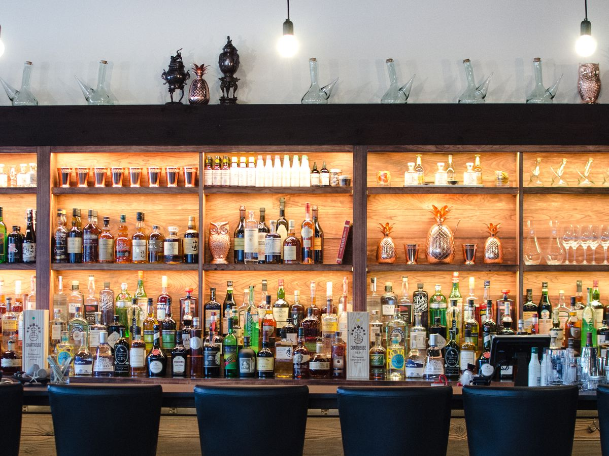 Front view of bar at a restaurant