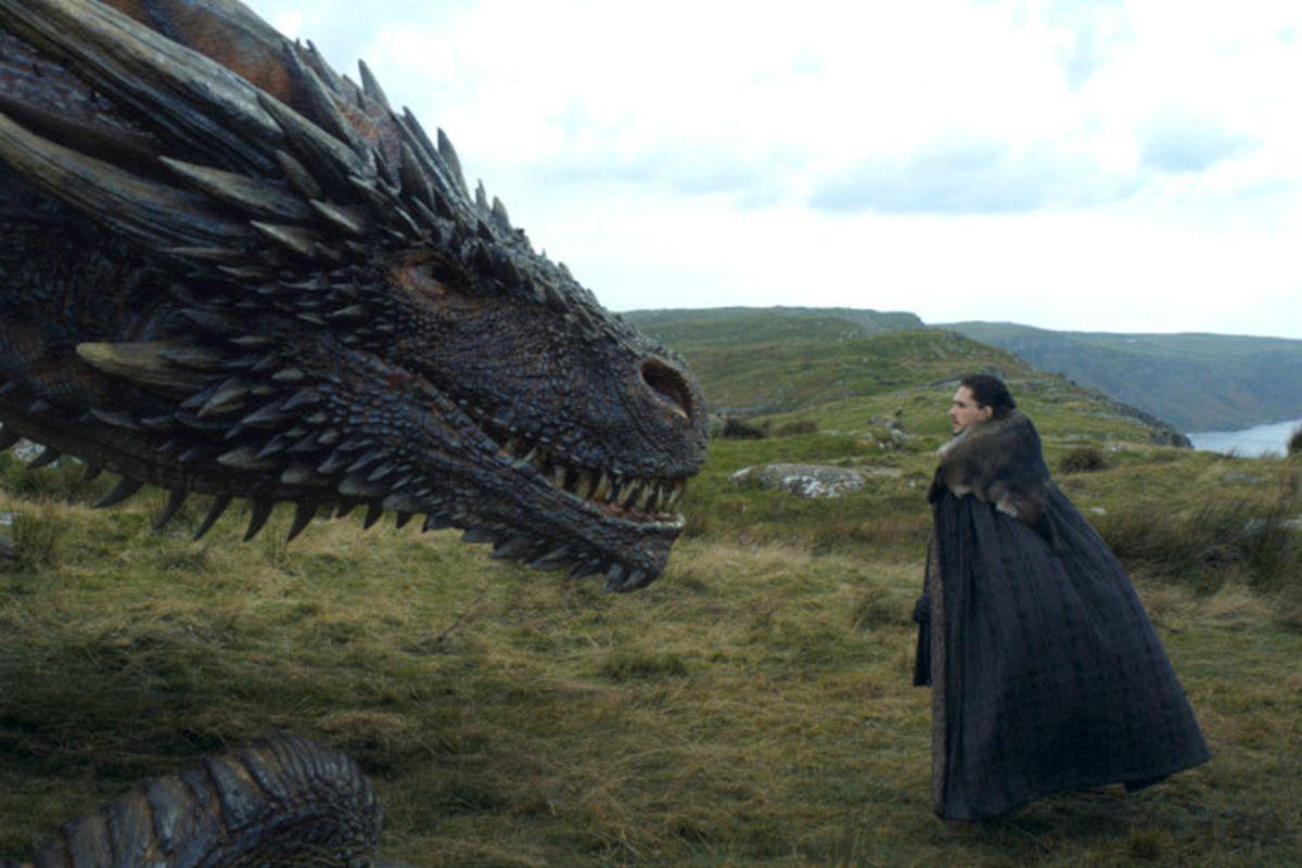 Jon stares down a dragon.