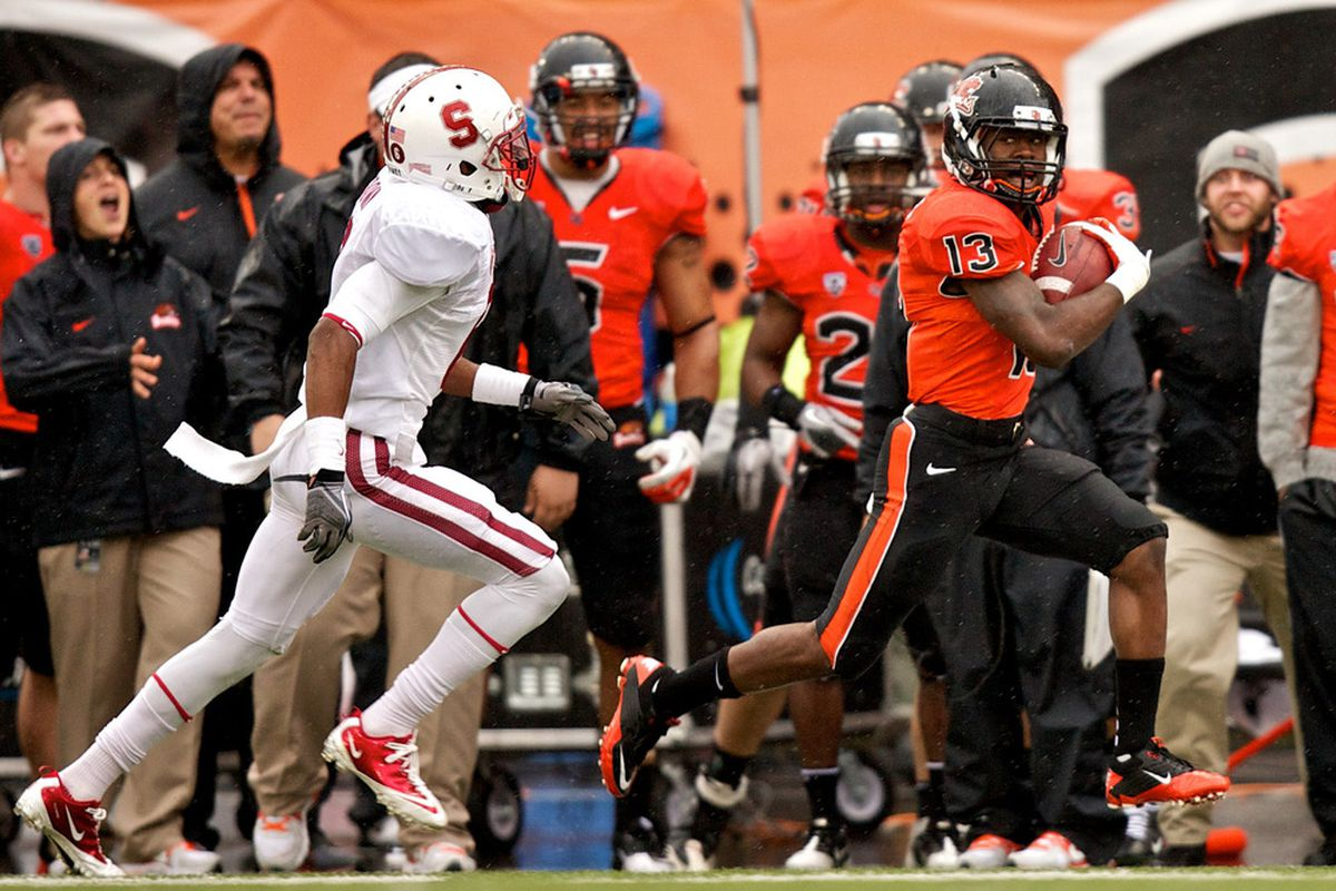 CORVALLIS, OR - NOVEMBER 5: Wide receiver Brandin Cooks #13 of the Oregon State Beavers runs for a first down on November 5, 2011 at Reser Stadium in Corvallis, Oregon. Stanford won the game 38-13. (Photo by Craig Mitchelldyer/Getty Images)