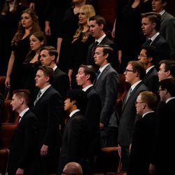 A choir of BYU students performs during the Saturday evening session of the 191st Semiannual General Conference of The Church of Jesus Christ of Latter-day Saints at the Conference Center in Salt Lake City on Saturday, Oct. 2, 2021.