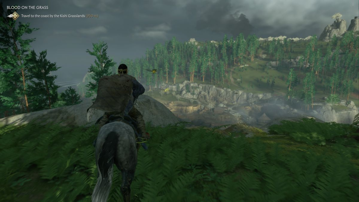 Jin riding a horse to the edge of a cliff in Ghost of Tsushima