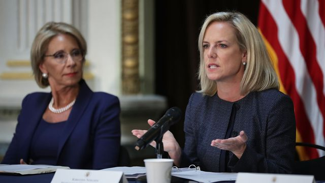 Education Secretary Betsy DeVos and Homeland Security Secretary Kirstjen Nielsen participate in a meeting of the Federal Commission on School Safety in August.