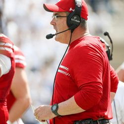 Wisconsin Badgers head coach Paul Chryst watches from the sideline during the game against the Brigham Young Cougars at LaVell Edwards Stadium in Provo on Saturday, Sept. 16, 2017.