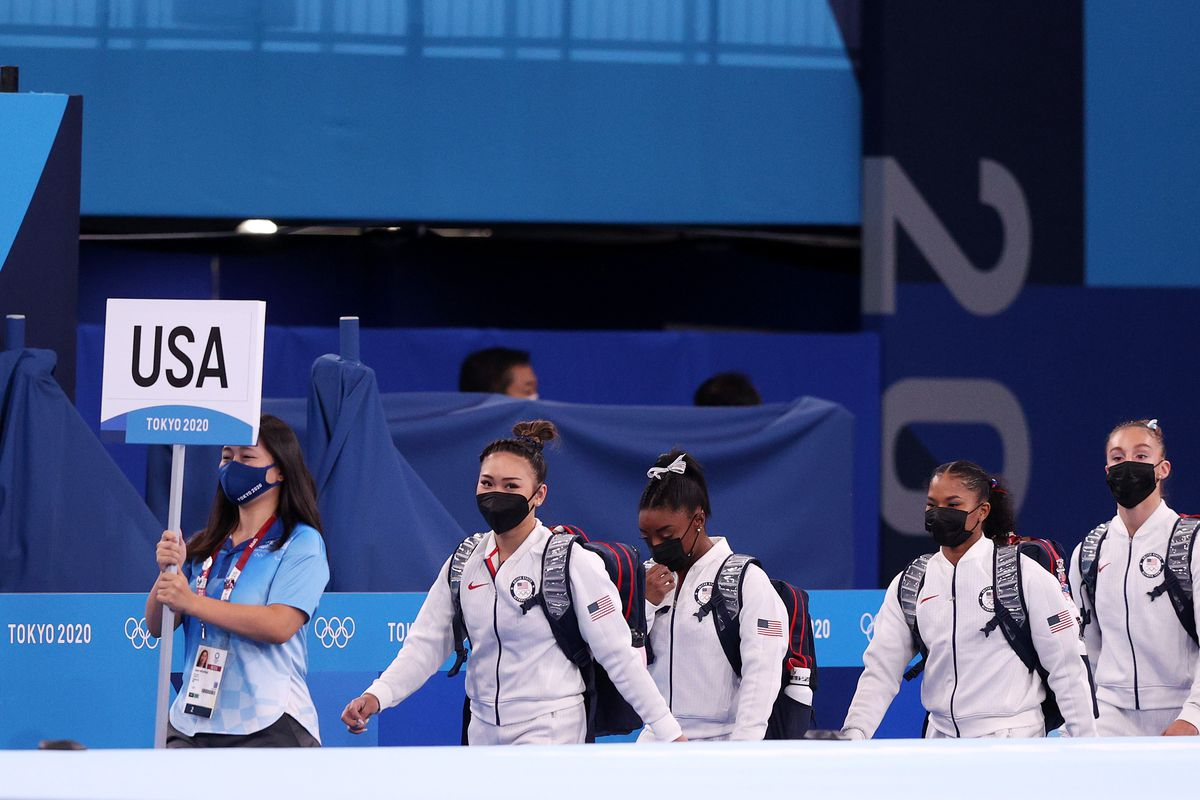 Team USA walks into the arena prior to the Women's Team Final on day four of the Tokyo 2020 Olympic Games at Ariake Gymnastics Centre on July 27, 2021 in Tokyo, Japan.