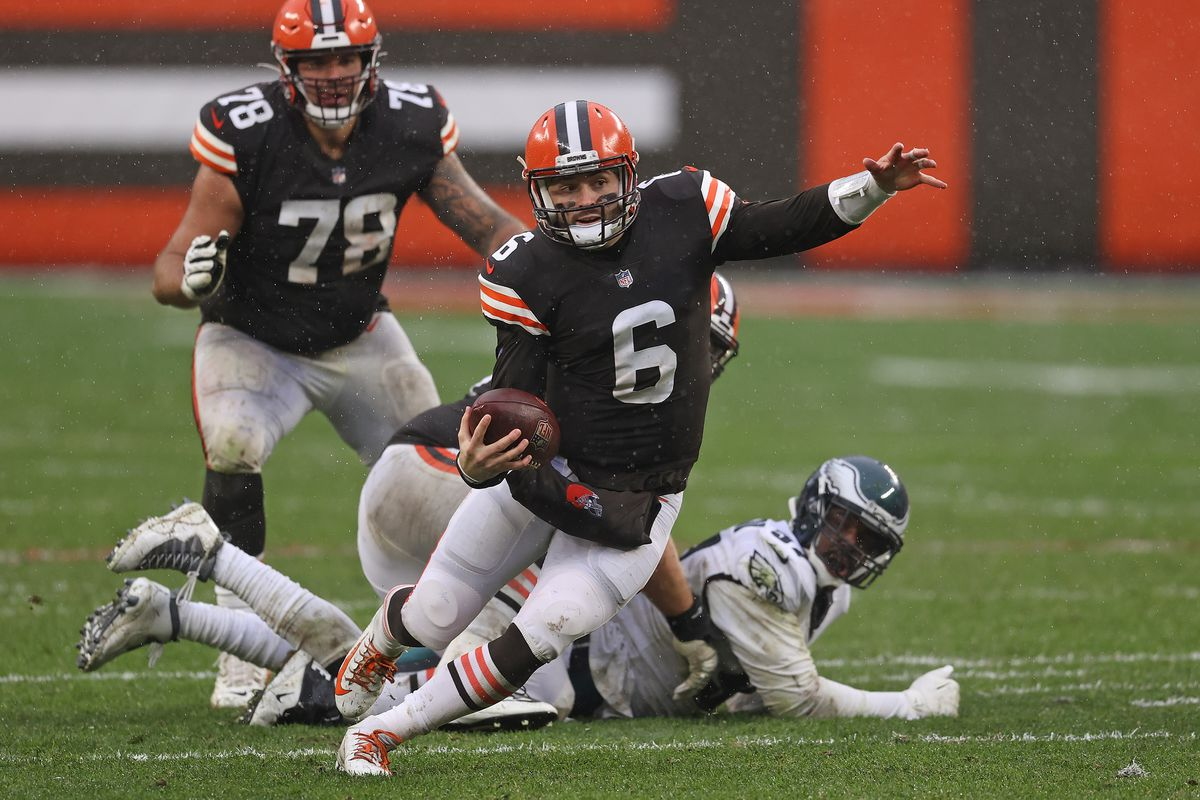 Baker Mayfield #6 of the Cleveland Browns runs for yards during the second half against the Philadelphia Eagles at FirstEnergy Stadium on November 22, 2020 in Cleveland, Ohio.