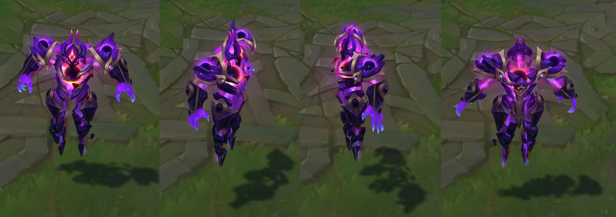Dark Star Xerath's in-game model, which is colored with dark purples, instead of his usual blue hue