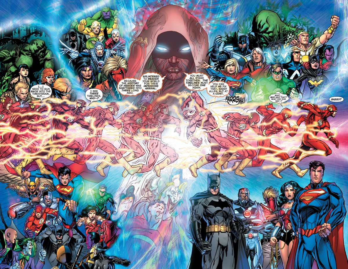 Barry Allen/The Flash races forward, surrounded by images of DC's three separate continuities on the left, and New 52 characters on the right, as Pandora, a hooded woman with glowing eyes and a painted face, looms above him in Flashpoint #5 (2011).