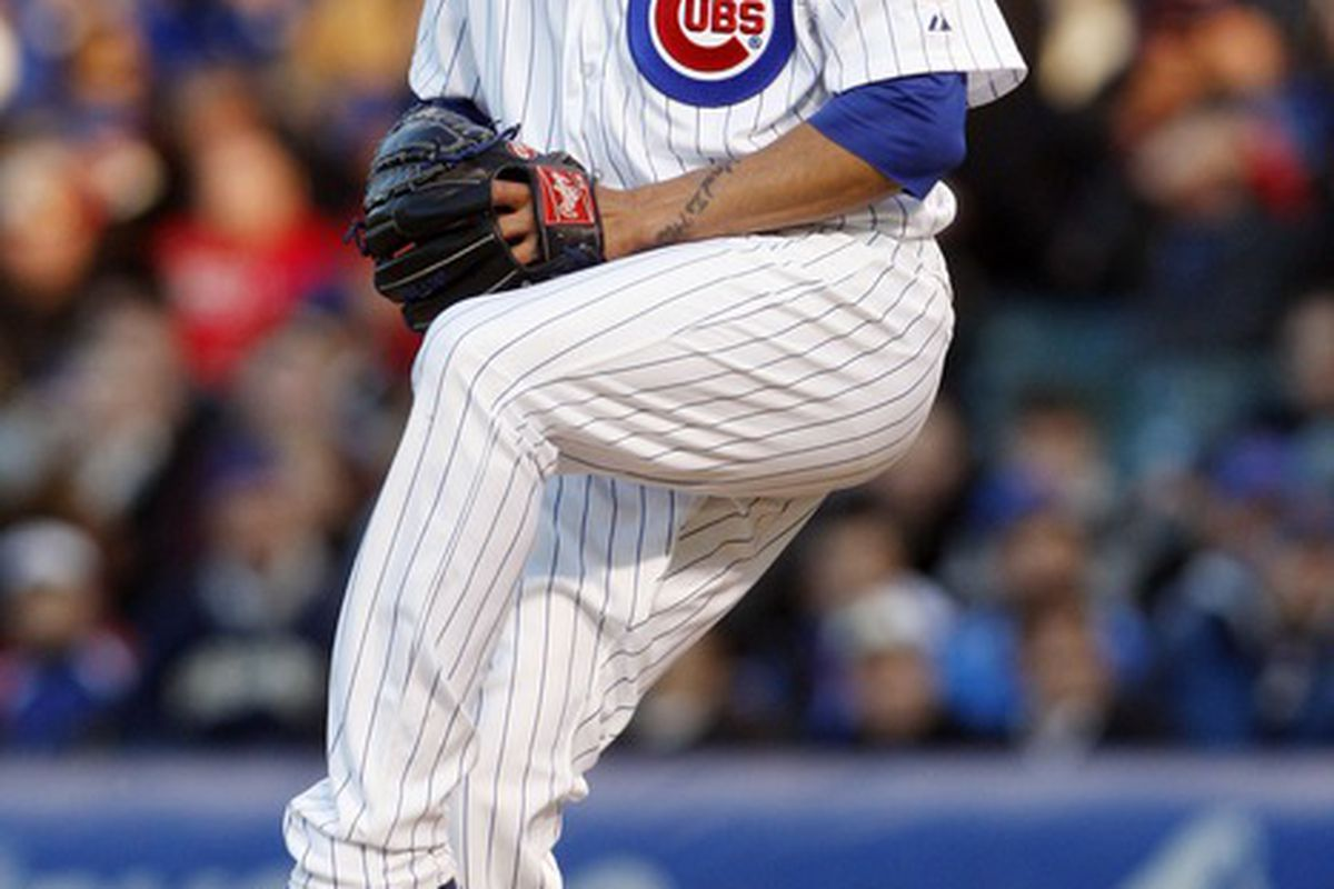 Apr 23, 2012; Chicago, IL, USA; Chicago Cubs starting pitcher Matt Garza throws a pitch during the first inning against the St. Louis Cardinals at Wrigley Field.  Mandatory Credit: Jerry Lai-US PRESSWIRE