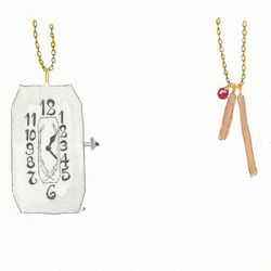 Left: Antique watch necklace, $108. Right: The Rod Drops 2 necklace with garnet, $78.