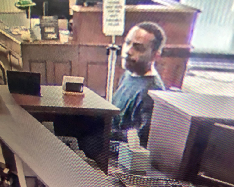 Surveillance image of the man suspected in a bank robbery May 28, 2019, at a Lakeside Bank branch at 55 W. Wacker Drive.