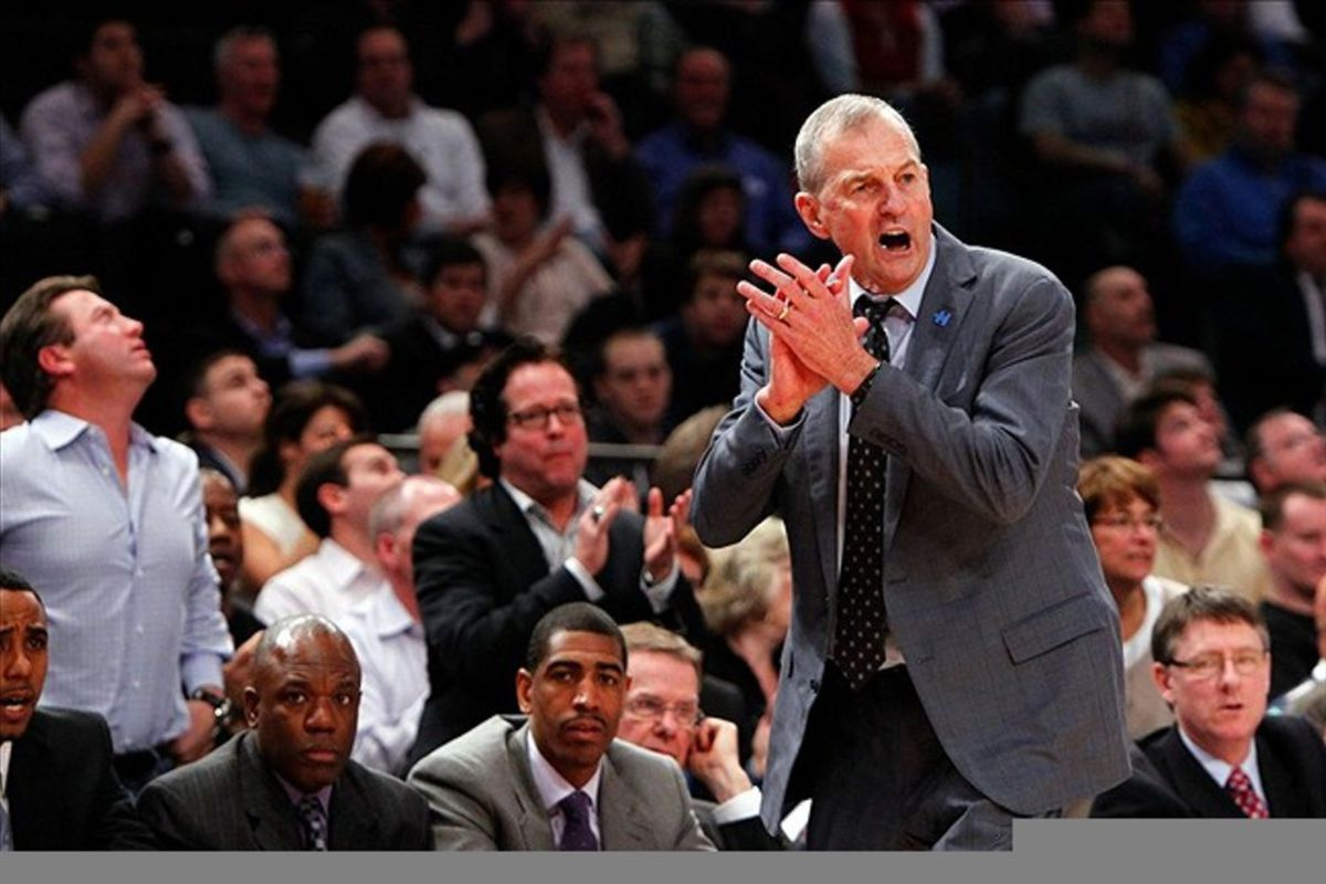 Connecticut Huskies head coach Jim Calhoun reacts on the sidelines during the 2012 Big East Tournament at Madison Square Garden. Assistant coach Kevin Ollie (bottom center) looks on from the bench (Debby Wong-US PRESSWIRE).