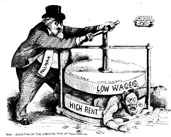 This 1894 political cartoon depicts an employee being squeezed by Pullman between two halves of a vise representing high rent and low wages.