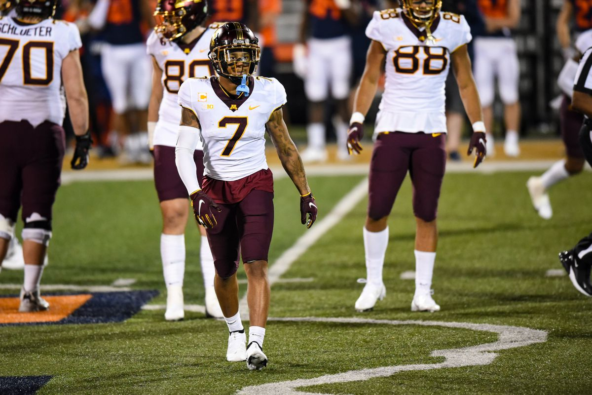 Minnesota WR Chris Autman-Bell during a college football game between the Minnesota Golden Gophers and Illinois Fighting Illini on November 7, 2020 at Memorial Stadium in Champaign, Ill