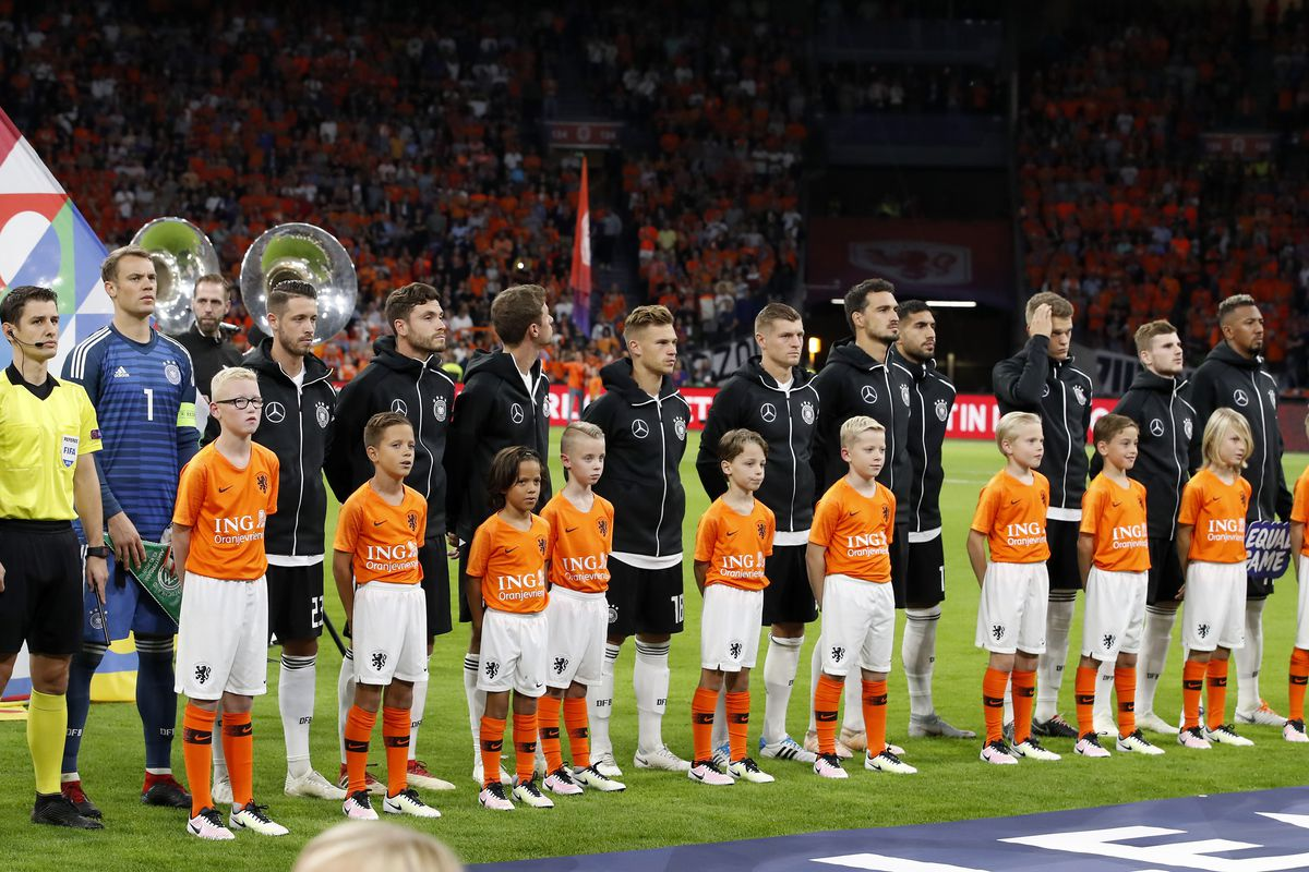 UEFA Nations League A group 1'The Netherlands v Germany' (L-R) Germay goalkeeper Manuel Neuer, Mark Uth of Germany, Jonas Hector of Germany, Thomas Muller of Germany, Joshua Kimmich of Germany, Toni Kroos of Germany, Mats Hummels of Germany, Emre Can of Germany, Timo Werner of Germany, Matthias Ginter of Germany, Jerome Boateng of Germany during the UEFA Nations League A group 1 qualifying match between The Netherlands and Germany at the Johan Cruijff Arena on October 13, 2018 in Amsterdam, The Netherlands