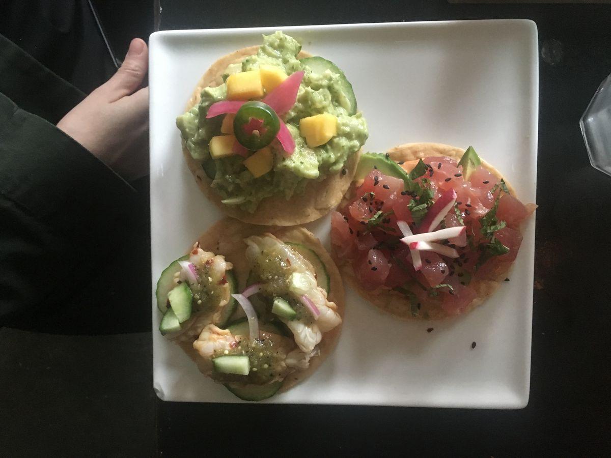 Trio of tostadas at Calaca