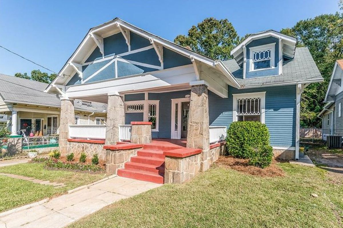 A blue West End bungalow that's for sale in Atlanta following a restoration.