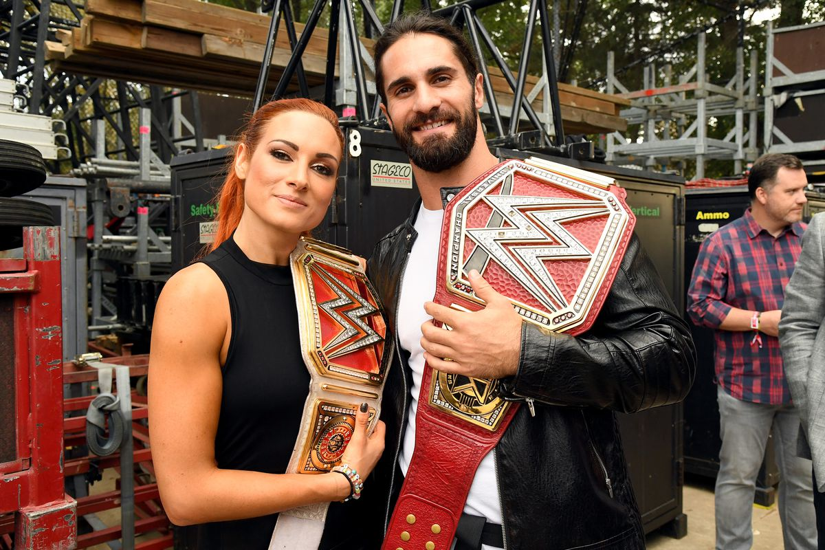 Becky Lynch and Seth Rollins attend the 2019 Global Citizen Festival: Power The Movement in Central Park on September 28, 2019 in New York City.