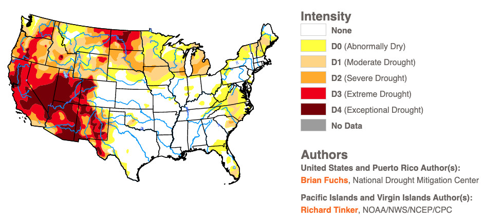 Map of US drought on June 10, 2021
