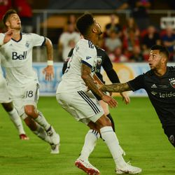 Luciano Acosta runs in for a ball