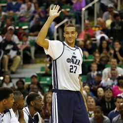 Rudy Gobert is introduced before the Utah Jazz's scrimmage in Salt Lake City, Saturday, Oct. 5, 2013.