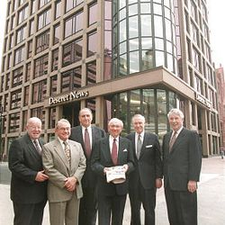 James Mortimer, left; L. Glen Snarr; First Counselor in the LDS First Presidency Thomas S. Monson; President Gordon B. Hinckley; James Faust, second counselor in the First Presidency; and John Hughes stand at the new Deseret News building May 21, 1997.