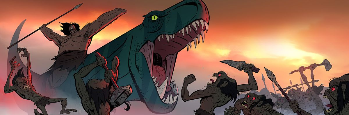 a t-rex attacks a bunch of cromags in primal
