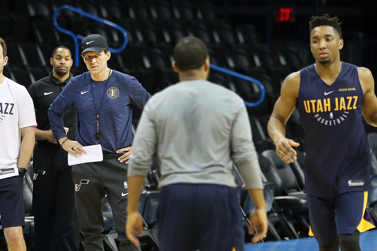 Utah Jazz head coach Quin Snyder and other staff members watch as Utah Jazz guard Donovan Mitchell (45) and the rest of the Utah Jazz practice as they prepare to play the Oklahoma City Thunder in game two of the NBA playoffs in Oklahoma City on Tuesday, A