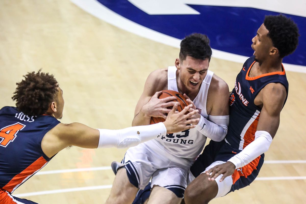 Brigham Young Cougars guard Alex Barcello (13) gets ready to shoot over the Pepperdine Waves position at the Marriott Center in Provo on Saturday, Jan. 23, 2021.