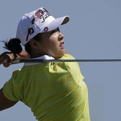 Haeji Kang, of South Korea, watches her tee shot on the second hole during final round play in the Navistar LPGA Classic golf tournament on Sunday, Sept. 23, 2012, at the Robert Trent Jones Golf Trail in Prattville, Ala.